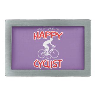 Glücklicher Radfahrer (weiß) Rechteckige Gürtelschnallen