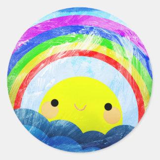 Glücklicher Regenbogen Runder Aufkleber