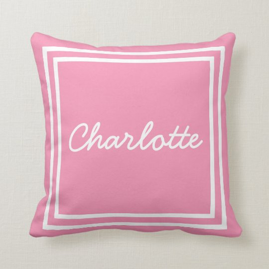 Glücklicher rosa und weißer Rahmen personalisiert Zierkissen