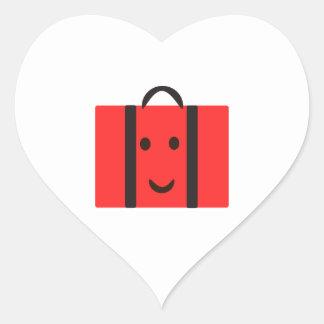glücklicher roter Koffer Herz-Aufkleber