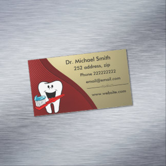 Glücklicher sauberer Zahn Magnetische Visitenkarten