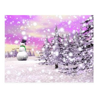 Glücklicher Schneemann für Weihnachten Postkarte