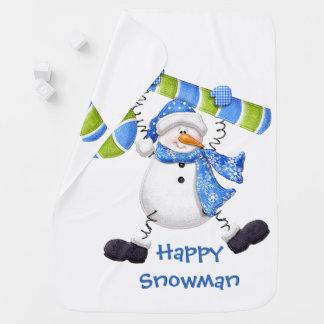 Glücklicher Schneemann-grünes und blaues Kinderwagendecke