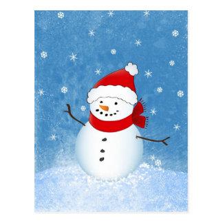 Glücklicher Schneemann Postkarte
