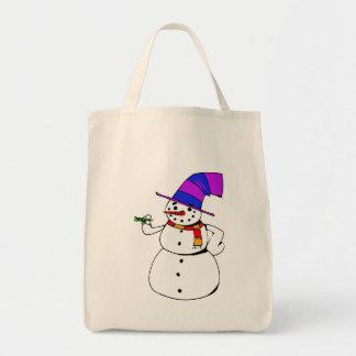Glücklicher Schneemann Tragetasche