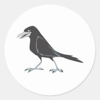 Glücklicher schwarzer Raben-Vogel Runder Sticker