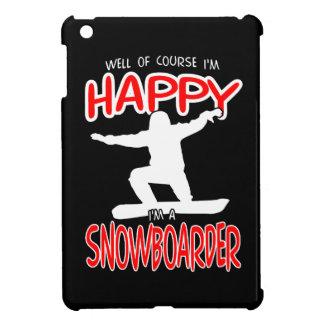 GLÜCKLICHER SNOWBOARDER im WEISS iPad Mini Hülle