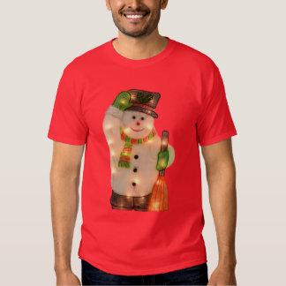 Glücklicher Snowman mit Imitat-Weihnachtslichtern Hemd