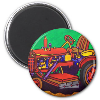 Glücklicher Traktor durch Piliero Runder Magnet 5,7 Cm