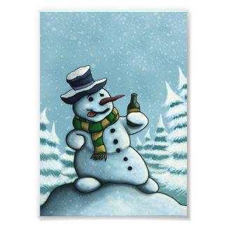 glücklicher trinkender Snowmanfeiertags-Fotodruck Kunstphoto