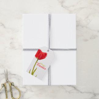 Glücklicher Tulpe-Blume Watercolor-Geschenkumbau Geschenkanhänger