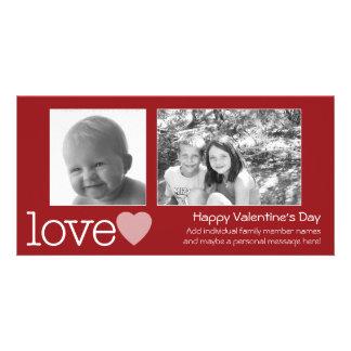 Glücklicher Valentinstag - 2 Fotos - horizontal Karte