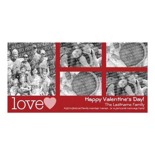 Glücklicher Valentinstag - Collage mit 5 Fotos Foto Grußkarte