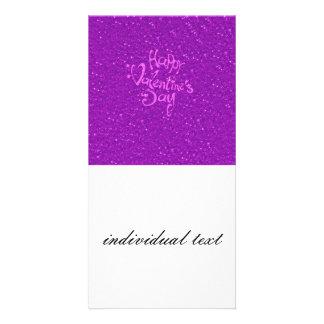 glücklicher Valentinstag, heißes Rosa Individuelle Photo Karten
