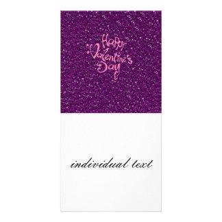 glücklicher Valentinstag, lila Photo Karten