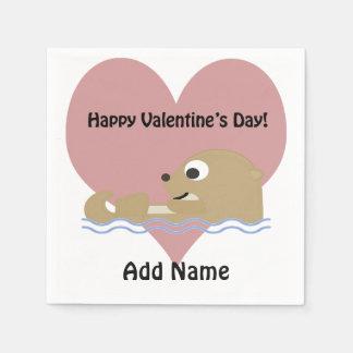 Glücklicher Valentinstag-Otter Papierservietten