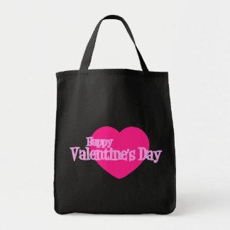 Glücklicher Valentinstag (riesiges rosa Herz) Tragetasche