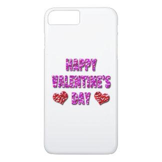 Glücklicher Valentinstag-rosa und roter iPhone iPhone 8 Plus/7 Plus Hülle