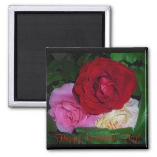 Glücklicher Valentinstag! Rosen Quadratischer Magnet
