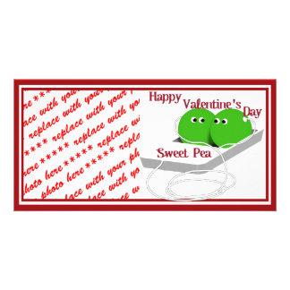 Glücklicher Valentinstag, süße Erbse Foto Karten Vorlage