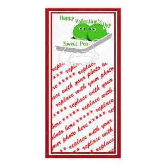 Glücklicher Valentinstag, süße Erbse Photokarte