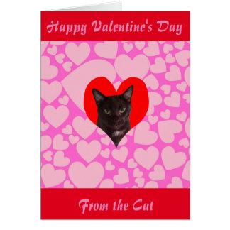 Glücklicher Valentinstag von der Katze (schwarze Karte