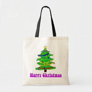 Glücklicher Weihnachtsbaum des Hippies Budget Stoffbeutel