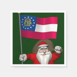 Glücklicher Weihnachtsmann mit Flagge von Georgia Serviette