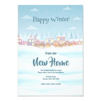 Glücklicher Winter-neue Zuhause-Mitteilung Karte