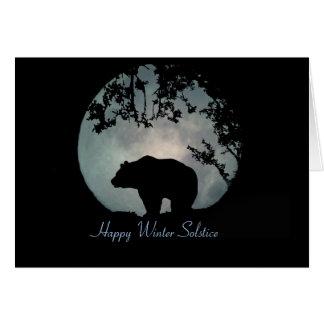 Glücklicher Winter-Sonnenwende-Bär und Mond Grußkarte