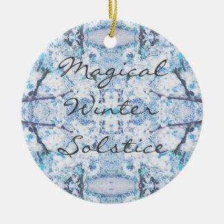 Glücklicher Winter-Sonnenwende-Weihnachten-Schnee Keramik Ornament