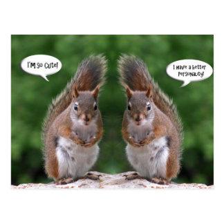 Glücklicher Zwillings-Tag, rotes Eichhörnchen-Spaß Postkarten