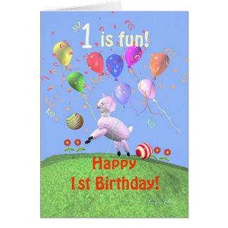 Glückliches 1. Geburtstags-Lamm und Ballone Grußkarte