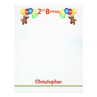 Glückliches 2. Geburtstags-Bärn-Einklebebuch-Papie Flyer