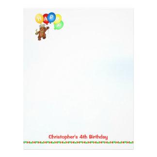 Glückliches 4. Geburtstags-Bärn-Einklebebuch-Papie 21,6 X 27,9 Cm Flyer