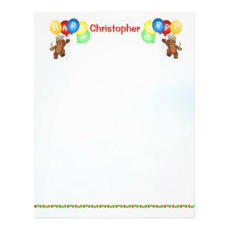 Glückliches 4. Geburtstags-Bärn-Einklebebuch-Papie Bedruckte Flyer