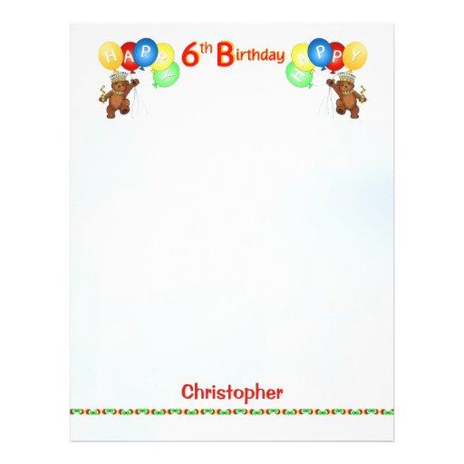 Glückliches 6. Geburtstags-Bärn-Einklebebuch-Papie Individuelle Flyer