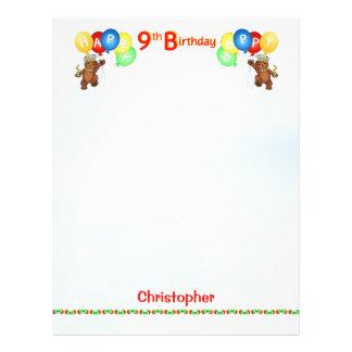 Glückliches 9. Geburtstags-Bärn-Einklebebuch-Papie 21,6 X 27,9 Cm Flyer