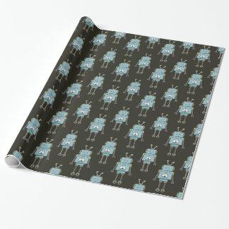 Glückliches blaues Roboter-Muster Geschenkpapier
