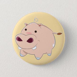 Glückliches Cartoon-Baby-Flusspferd Runder Button 5,7 Cm