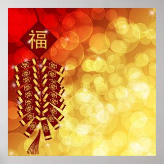 Glückliches Chinesisches Neujahrsfest mit Krachern Poster