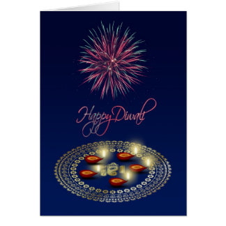 Glückliches Diwali Ganesha Rangoli - Gruß-Karte Karte