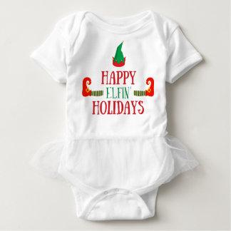 Glückliches Elfenfeiertags-Weihnachten Baby Strampler