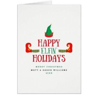 Glückliches Elfenfeiertags-Weihnachten Grußkarte