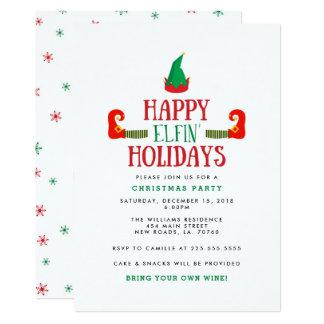 Glückliches Elfenfeiertags-WeihnachtsParty 12,7 X 17,8 Cm Einladungskarte