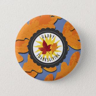 Glückliches Erntedank-Fall-Eichen-Blatt Runder Button 5,7 Cm