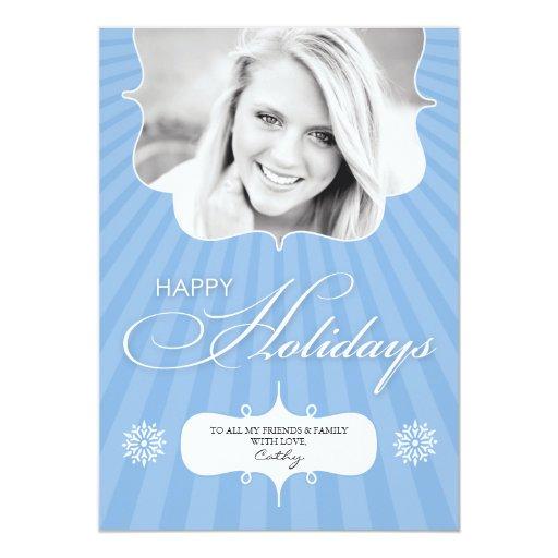 Glückliches Feiertags-Foto-blaue flache Karte 12,7 X 17,8 Cm Einladungskarte