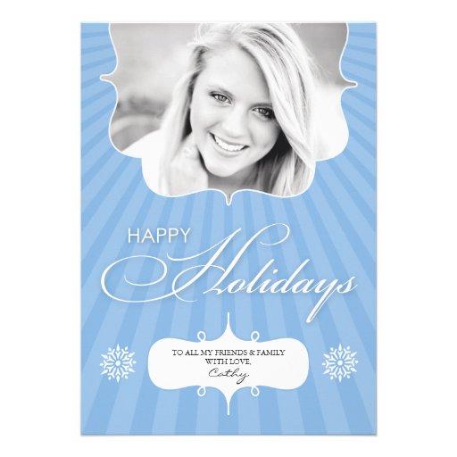 Glückliches Feiertags-Foto-blaue flache Karte Individuelle Einladung
