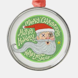 Glückliches Feiertags-frohe Weihnacht-neues Jahr Rundes Silberfarbenes Ornament
