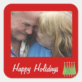 Glückliches Feiertags-Rot addieren Ihre eigenen Quadratischer Aufkleber